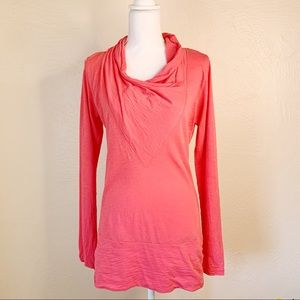 Lucy Cowl Neck Long Sleeve Pink Workout Top Medium